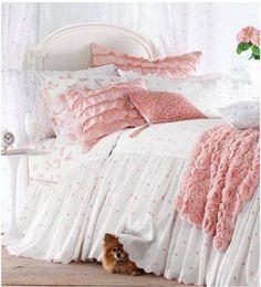 so feminine--Molly Bed Linens--love the rosette throw