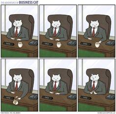 Ronroneando en la oficina: la disparatada vida de un gato ejecutivo, en 23 viñetas