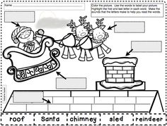 Beginning and Ending Sound Review 4 pages of labeling activities for December. Color the picture.  Highlight the first and last letter in each word.  Make the sound that the letters make to help you read the words. Cut out the words and paste them to label your picture.  Perfect for  morning work or small groups.  $