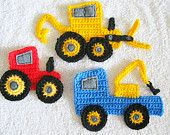 Crocheted construction vehicle appliques - digger, tractor and tow truck!