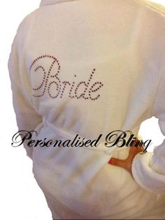de8ef65f8fcf9 Bride robe dressing gown white / ivory soft touch personalised bling  rhinestone diamonte bridesmaid wedding by
