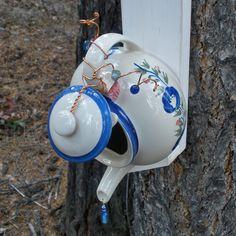 Birdhouse Teapot Upcycled Rustic Farmhouse Shabby by BigSkyPicker
