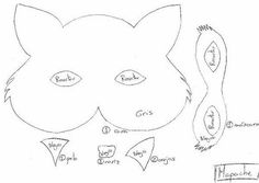 molde máscara lobo em feltro - Pesquisa Google