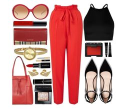 """""""In The Red"""" by jomashop ❤ liked on Polyvore featuring Bobbi Brown Cosmetics, Michael Kors, Burberry, DKNY, Miss Selfridge, Boohoo, NARS Cosmetics, Tory Burch, Smashbox and Yves Saint Laurent"""