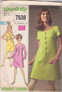 MOMSPatterns Vintage Sewing Patterns - Simplicity 7638 Vintage 60's Sewing Pattern SASSY Mod Designer Fashion Scalloped Button Band Step In Day Dress, Fit & Flared, Scoop Neck, Tie Sash Belt