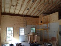 pole barn house - knotty pine tongue & groove for ceiling/walls. Metal Building Homes Cost, Building A Pole Barn, Pole Barn House Plans, Pole Barn Homes, Barn Plans, Metal Homes, Building A House, Pole House, Garage House
