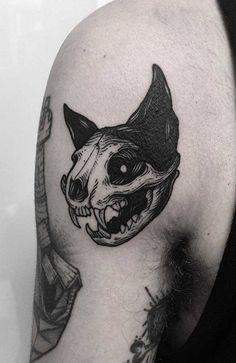Tatoo Cat, Cat Skull Tattoo, Animal Skull Tattoos, Black Cat Tattoos, Tattoo Black, Unique Animal Tattoos, Badass Tattoos, Cute Tattoos, Beautiful Tattoos