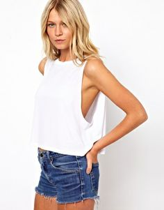 Image 1 of ASOS Cropped Tank Top with High Neck