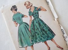 1950s Womens Dress with Basque Waist  Vintage by ErikawithaK