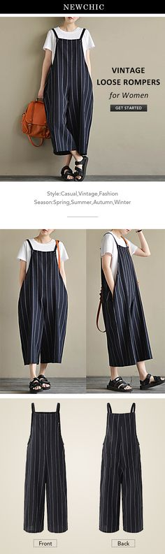[Newchic Online Shopping] 46%OFF Vintage Rompers | Loose Striped Rompers | Sleeveless Rompers | Rompers With Pockets | Rompers for Women #rompers #womensfashion