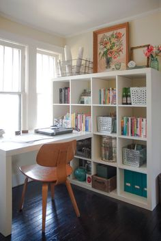 Love the expedit bookshelf and desk...eclectic home office by Adrienne DeRosa