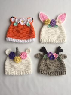 Crochet hats with flowers