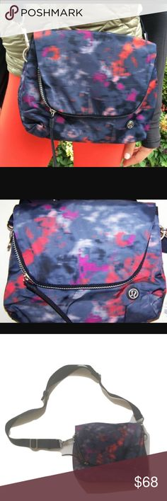 """•Lululemon•Party•Om•Bag• •wear it crossbody or around your waist• this bag is designed so you can go hands free• tons of great compartments for organization• adjustable nylon strap• fabric bag• L:10""""•H:9""""• D: up to 5.5""""• strap drop: adjustable•  no flaws• smoke free• dog friendly home• lululemon athletica Bags Crossbody Bags"""