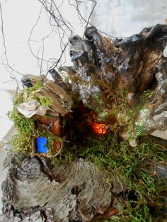 Faerie House Near The Mushroom Tree by Faeriearthart on Etsy