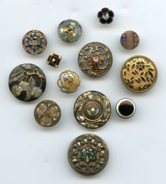SOLD: Group of enamel and painted enamel buttons antique and vintage buttons