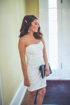 This little bridal dress is EVERYTHING! Wear it for your bridal shower, rehearsal, bachelorette party, or even your reception! Available at Entourage!