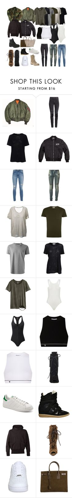 """""""Untitled #163"""" by deaja-xx ❤ liked on Polyvore featuring Alpha Industries, H&M, T By Alexander Wang, Current/Elliott, Balmain, IRO, Oliver Spencer, Dolce&Gabbana, Lisa Marie Fernandez and Giuseppe Zanotti"""