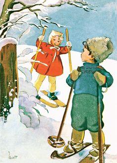 MARTTA WENDELIN | Osastot | Korttien Talo Vintage Ski Posters, Vintage Children's Books, Vintage Postcards, Winter Illustration, Illustration Art, Winter Images, Nouvel An, Vintage Holiday, Illustrations And Posters