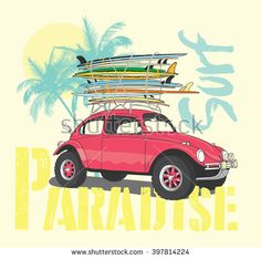 Surf car Illustration / t-shirt graphics / vectors/ typography/ summer tropical heat print/ surf print vector set