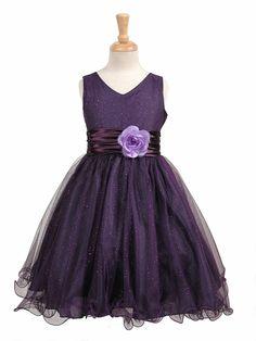 Purple Sparkle Flower Girl Dress