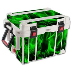 MightySkins Protective Vinyl Skin Decal for Pelican 35 qt Cooler wrap cover sticker skins Green Flames >>> Visit the image link more details.(This is an Amazon affiliate link and I receive a commission for the sales)
