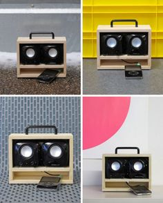 DIY boombox for ipod--would be cute more finished (painted, fabric over speaker space, etc)