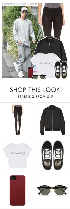 """Hanging out with Justin"" by xcuteniallx ❤ liked on Polyvore featuring Justin Bieber, David Lerner, T By Alexander Wang, WithChic, Vans, Case-Mate, Evian and Ray-Ban"