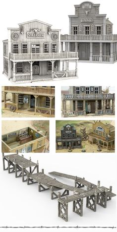 Printable Scenery is raising funds for TIME WARP - Rampage Castle, Europe and the Americas on Kickstarter! TIME WARP featuring Rampage Castle and detailed game-ready buildings from Europe and the Americas designed for your home Printer Old West Town, Old Town, Westerns, Old Western Towns, Planet Coaster, Garden Railroad, Saloon, Modelos 3d, Model Train Layouts