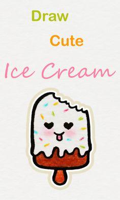 Learn How To Draw So Cute Ice Cream Easy Step By Step Kawaii Tutorial Kawaii Drawing Tutorial Icec Cute Easy Drawings Cute Little Drawings Easy Drawings