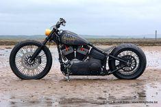 Left Side View Of Custom Harley Davidson Rocker C - Blackbird by Rocket Bobs #harleydavidsonchoppersvintage #harleydavidsonsoftailbobber