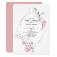 Geometric Floral Frame Baby Shower Invitation Custom Office Party Invitations #office #partyplanning