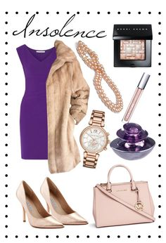 """""""Insolence"""" by andreea-pug ❤ liked on Polyvore featuring Guerlain, Diane Von Furstenberg, Charles David, Michael Kors and Bobbi Brown Cosmetics"""