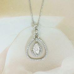 14K White Gold 1.10 Carat Pear Shape Center Diamond 1.60 cttw Teardrop Halo Pendant