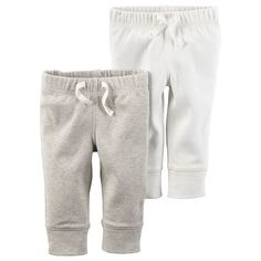 Baby Carter's Solid Jogger Pants, Infant Unisex, Size: 12 Months, White Oth
