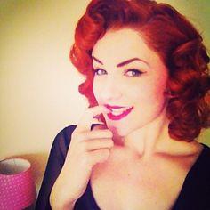 Red hair vintage curls