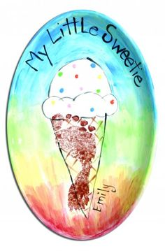 """My Little Sweetie"" footprint ice cream cone keepsake plate Infant Crafts, Baby Crafts, Pottery Painting, Ceramic Painting, Icecream Craft, May Themes, Clay Pen, Kids Clay, Paint Your Own Pottery"