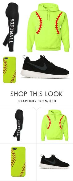 """LoveSOFTBALL"" by emily-softball03 ❤ liked on Polyvore featuring NIKE, women's clothing, women, female, woman, misses and juniors"