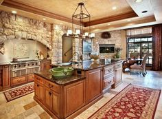 double L-shaped Kitchen Layout Ideas | Kitchen: Mesmerizing Large Armoire And Kitchen Island And Kitchen Bar ...