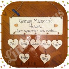 Grandparent Plaque. Have as many names/hearts/stars as you want. Find me on Facebook..... https://www.facebook.com/DonnasLittleDittys