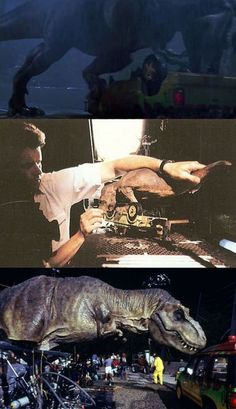 Behind the Scenes: List of the 100 Best BTS Photos from Iconic Movies - The Animatronic T-Rexes from Jurassic Park