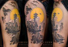 Japanese landscape tattoo. Gorgeous!!