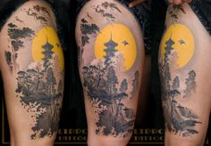 Japanese landscape tattoo. Gorgeous!!