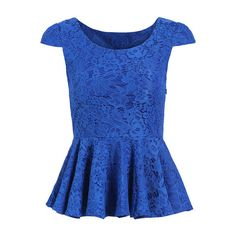 SheIn(sheinside) Blue Cap Sleeve Peplum Lace Shirt ($15) ❤ liked on Polyvore featuring tops, shirts, blue, peplum tops, lace sleeve shirt, summer shirts, blue lace top, short sleeve tops and lace peplum top