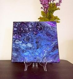 Nebula in Blue Purple and Black Abstract Acrylic Pour 10x10 inch painting. $24.99