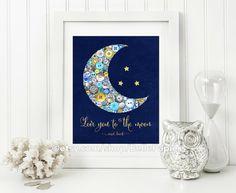Framed Button Art PRINT Gender Neutral Moon Decor Dream Big Little One Baby Shower Gift Night Sky Chalkboard Art Print Giclee…