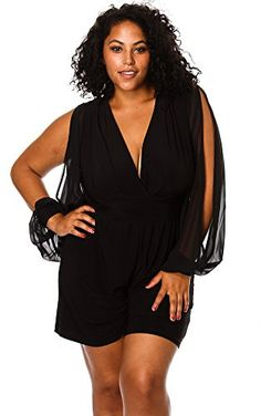 Black Slit Front Knee Length Plus Size Dress | Neckline, Style and ...