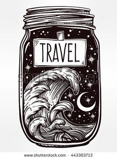 Hand drawn romantic wish jar with night sky and water waves in the sea or ocean . Vector illustration isolated. Tattoo design, mystic magic symbol for your use. Label has a message to travel on it.