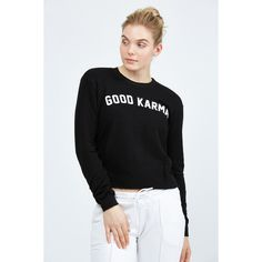 Spiritual Gangster Good Karma Arch Crop Sweatshirt ($98) ❤ liked on Polyvore featuring tops, hoodies, sweatshirts, vintage black, jersey crop top, spiritual gangster, jersey sweatshirt, cut-out crop tops and vintage jerseys