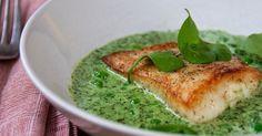 Halibut with Nettle Sauce, Peas & Miner's Lettuce
