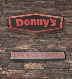 Faux stone panels at Denny's, 1040 West Mercury Blvd, Hampton, Texas.